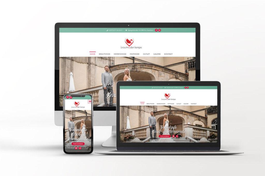 Webseite Brautmoden Kempe